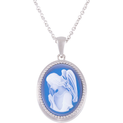 """Connections from Hallmark Stainless Steel Angel Blue Cameo Oval Pendant, 18"""" with 2"""" Extender"""