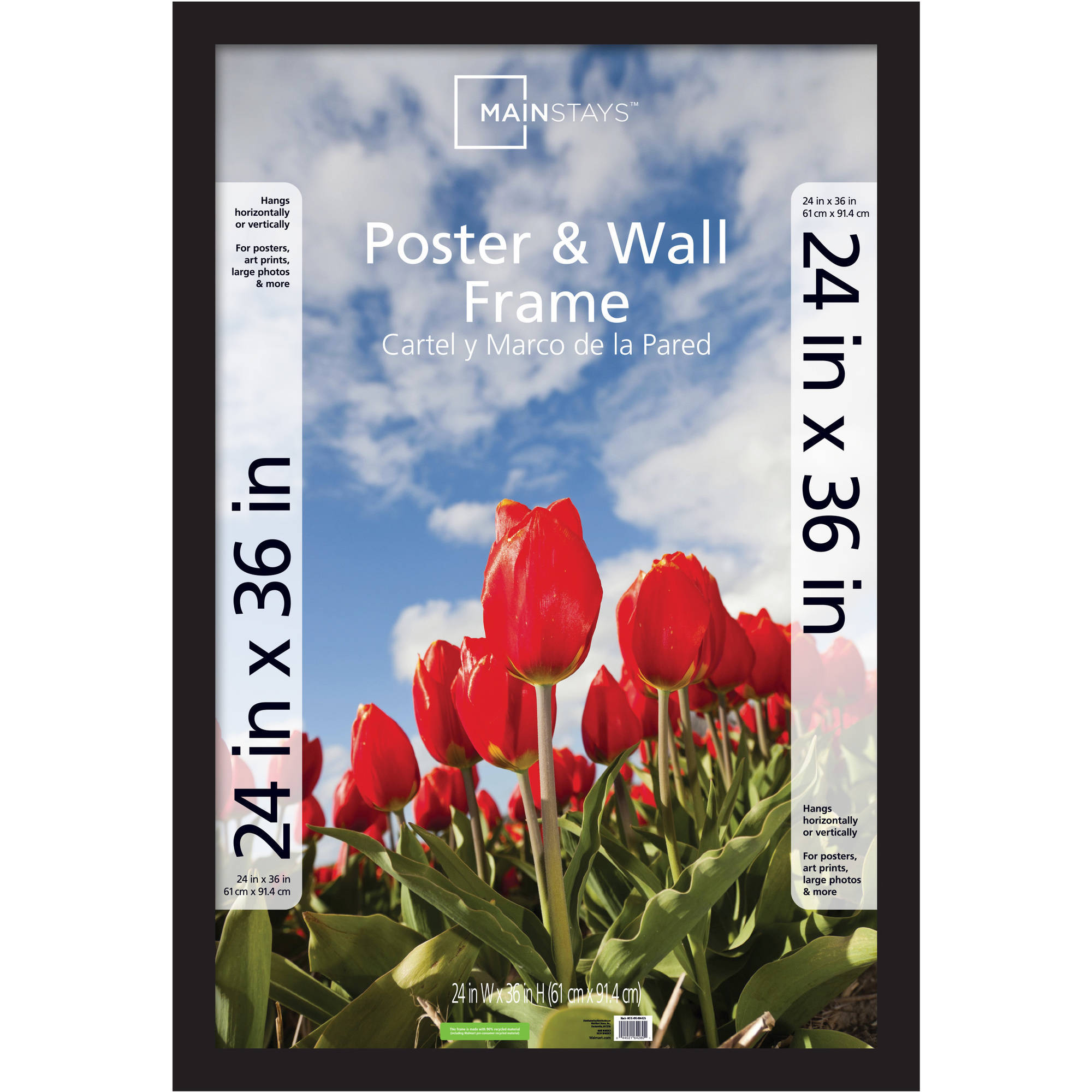 Mainstays 24x36 Wide Gallery Poster and Picture Frame, Black ...