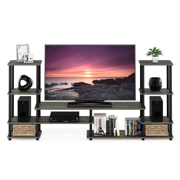Furinno Grand Entertainment Center Turn-N-Tube, French Oak Grey