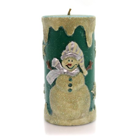 Christmas FITZ FLOYD SNOWMAN CANDLE Wax Vintage Snowman Glittered 300/1058