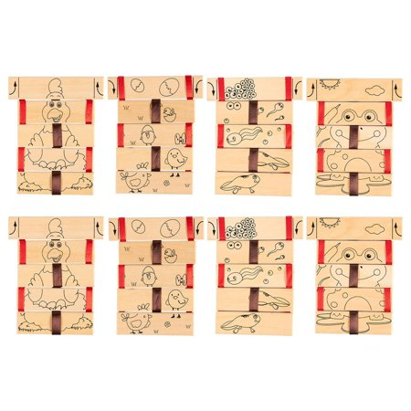 Jacob's Ladder Toy – 8-Pack Wooden Visual Illusion Blocks, Science Physics Educational Kids Toy, 2 Designs, Chicken Frog, 4.3 x 0.19 x 5.3 (Jacob's Ladder Toy)