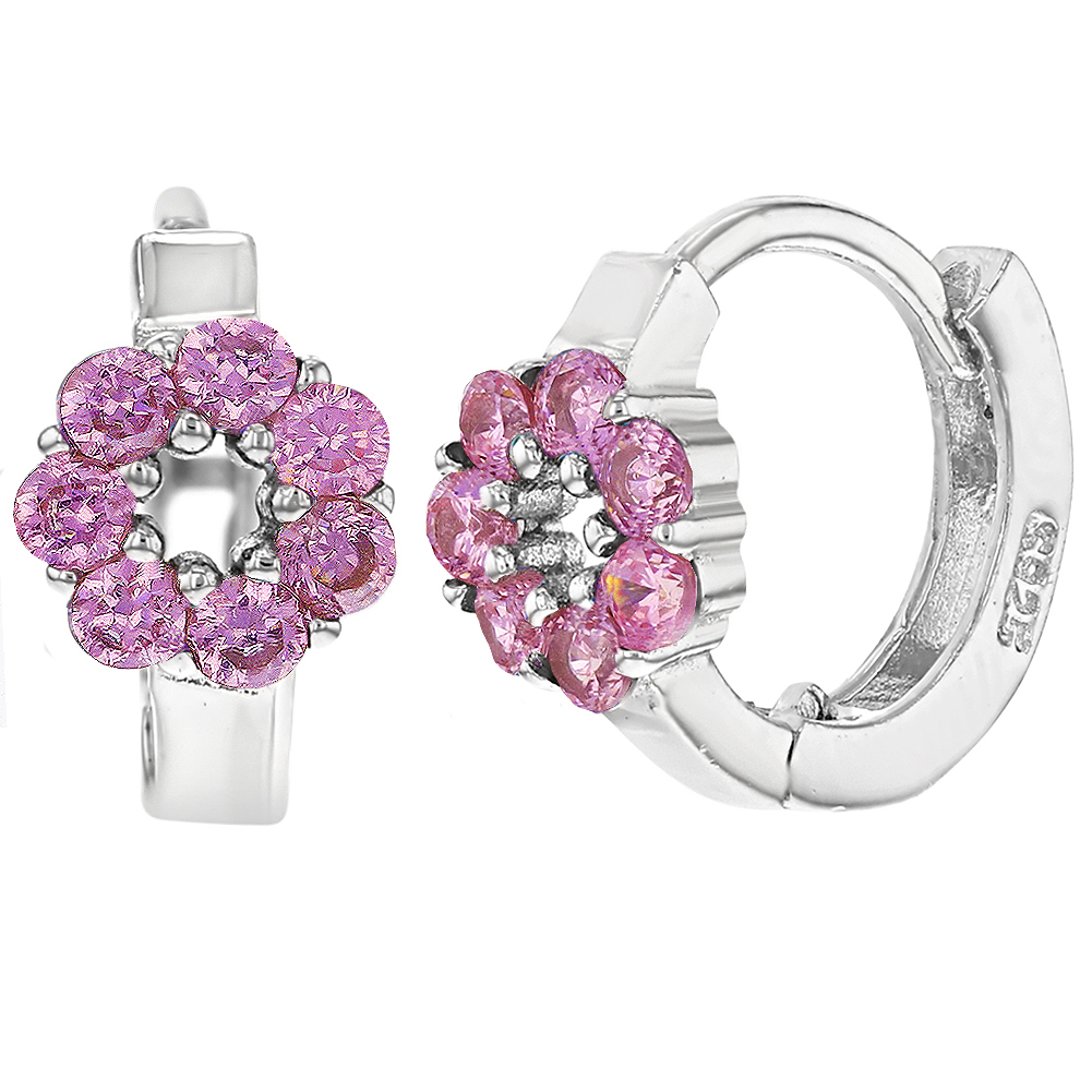 925 Sterling Silver Pink CZ Flower Small Huggie Hoop Girl Earrings 0.39""