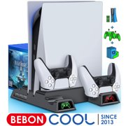 BEBONCOOL PS5 Cooling Stand for Playstation 5 Console, PS5 Stand with Cooling Fan and Dual Controller Chargers, PS5 Vertical Stand with Cooling Fan & 13 Game Storage for PS5 Digital Edition/Ultra HD