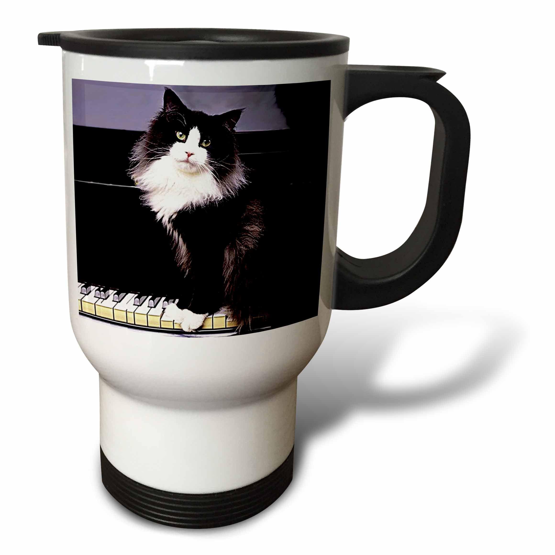 3dRose Tuxedo Cat, Travel Mug, 14oz, Stainless Steel