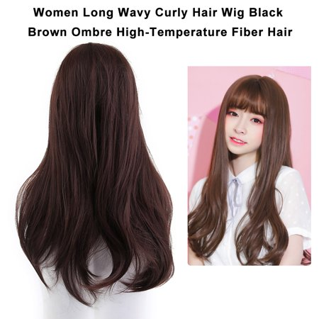 Women Front Side Open Long Straight Hair Wig High