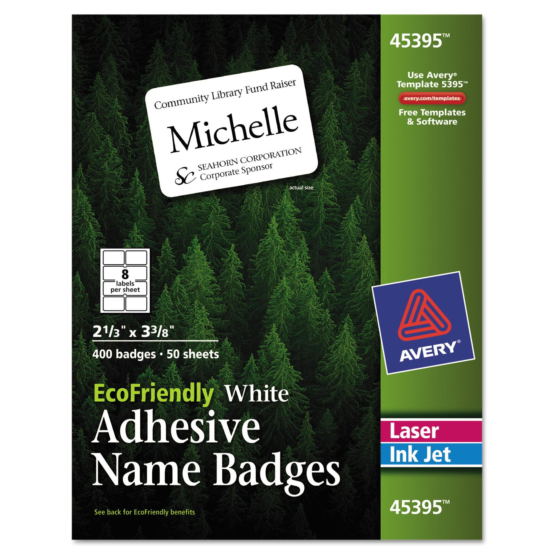 Avery EcoFriendly Adhesive Name Badge Labels, 2 1/3 x 3 3/8, White, 400/Box