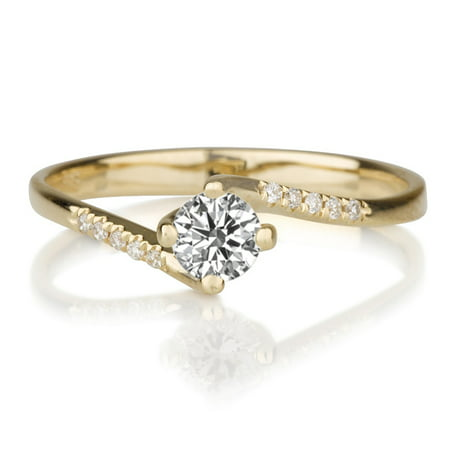 Moissanite Round Jewelry Set (Round Cut Moissanite Engagement Channel Set Ring 14K Yellow Gold, 5MM D-F VS (0.55 ctw) Twisted )