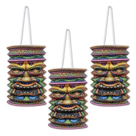 Club Pack of 18 Tropical Hawaiian Luau Tiki Paper Lantern Hanging Decorations 9