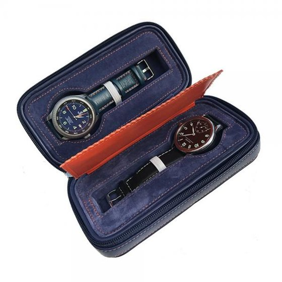 Blue Leather Watch Storage Box Dual Watch Holder And Organizer Great Travel Case Display For Your Luxury Watches