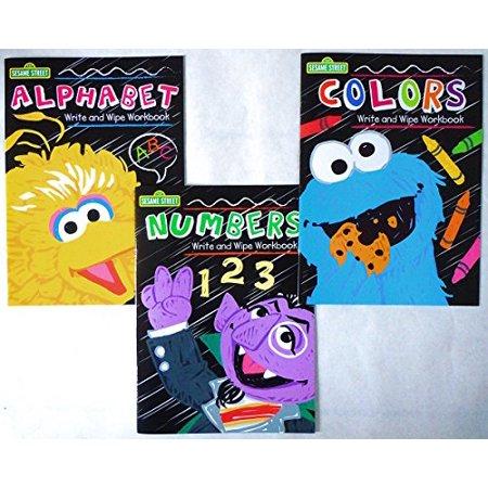 Set of 3 Sesame Street Write and Wipe Workbooks (Alphabet, Numbers, & - Set Number