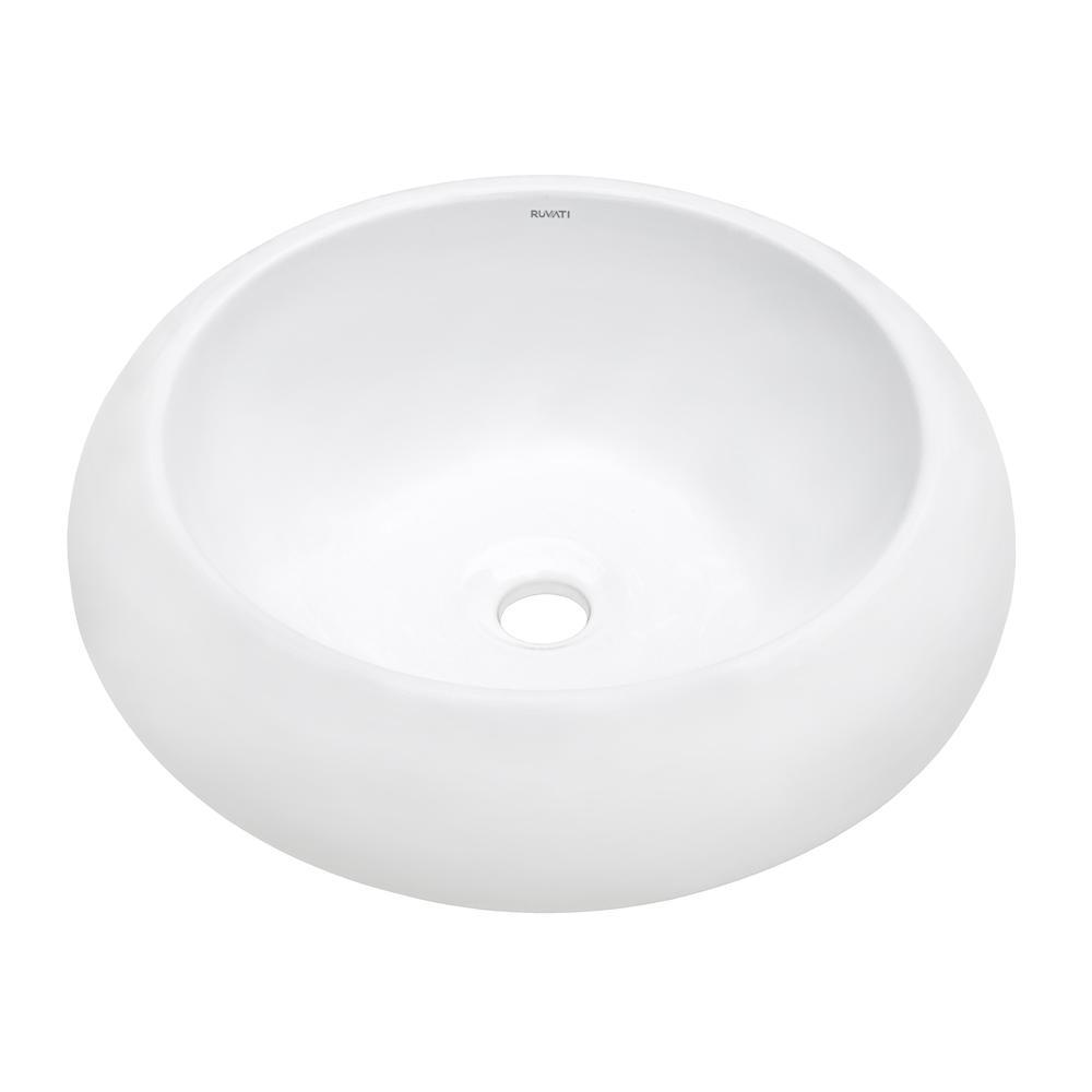 Ruvati 18 inch Round Bathroom Vessel Sink White Above ...