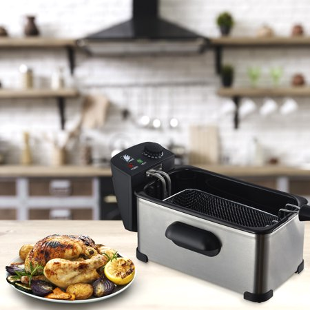 J-Jati Deep Fryer with Basket, Stainless Steel, Easy to Clean Deep Fryer Cool Touch Handles On Housing, Oil Bowl and Basket, Clear Vent, Adjustable Temp, Silver
