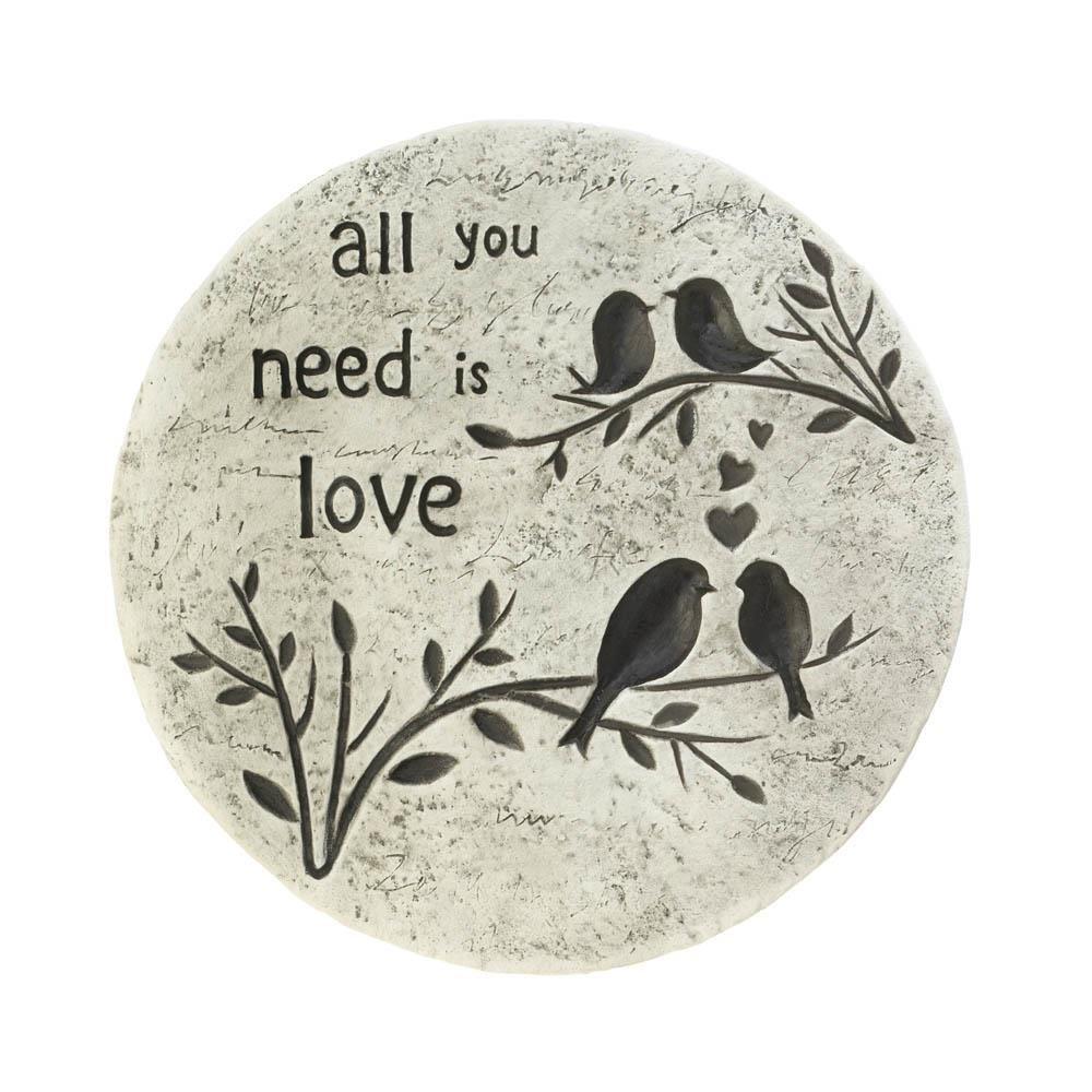 Stepping Stone For Garden, Round All You Need Is Love Outdoor Concrete Step Stone (Sold by Case, Pack of 6) by SUMMERFIELD TERRACE