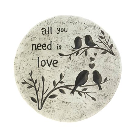 Stepping Stone For Garden, Round All You Need Is Love Outdoor Concrete Step (Mens Warehouse Round Rock)