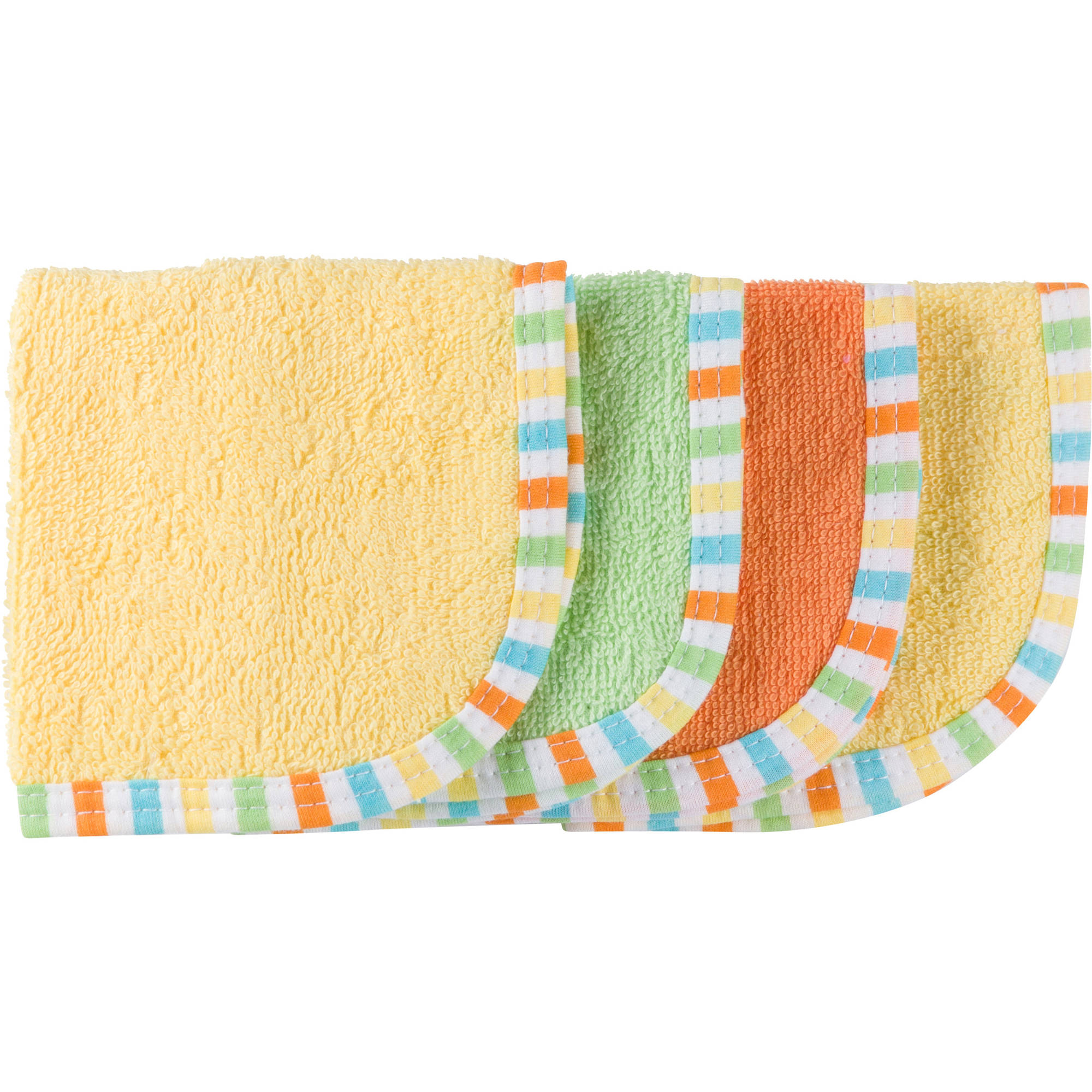 Gerber Baby Boy or Girl Unisex Woven Terry Solid Washcloths, 4-Pack