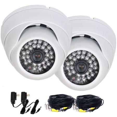 - VideoSecu 2 Pack Built-in 1/3 inch SONY Effio CCD Security Cameras 600TVL Wide Angle Vandal Proof with 2 Cable and Power BTU
