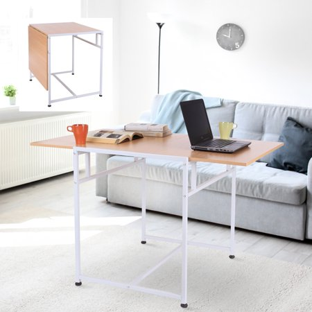"47"" Slide Folding Table Wooden Writing Desk Home Office Desk For Small Spaces - White"