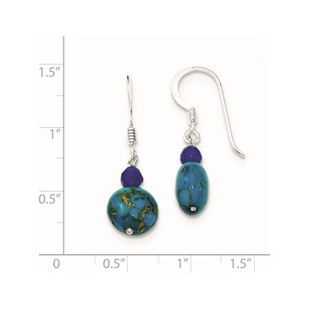 925 Sterling Silver Blue Agate, and Lapis Reconstructed Stone (10x30mm) Earrings - image 2 of 2