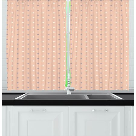 Pink Curtains 2 Panels Set, Romantic Vintage Classic in 50s 60s Style Image with Dots Pattern Print, Window Drapes for Living Room Bedroom, 55W X 39L Inches, Salmon Lilac and White, by Ambesonne - 50's Style Home Decor