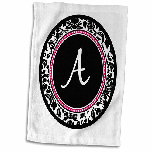 Symple Stuff Henfield Letter a Stylish Monogrammed Circle Girly Personal initial Personalized Damask Hot Hand Towel