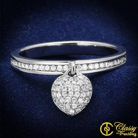 10 Gemstone - Classy Not Trashy® Women's Clear CZ Jewel Band Dangling Heart Charm Ring - Size 10