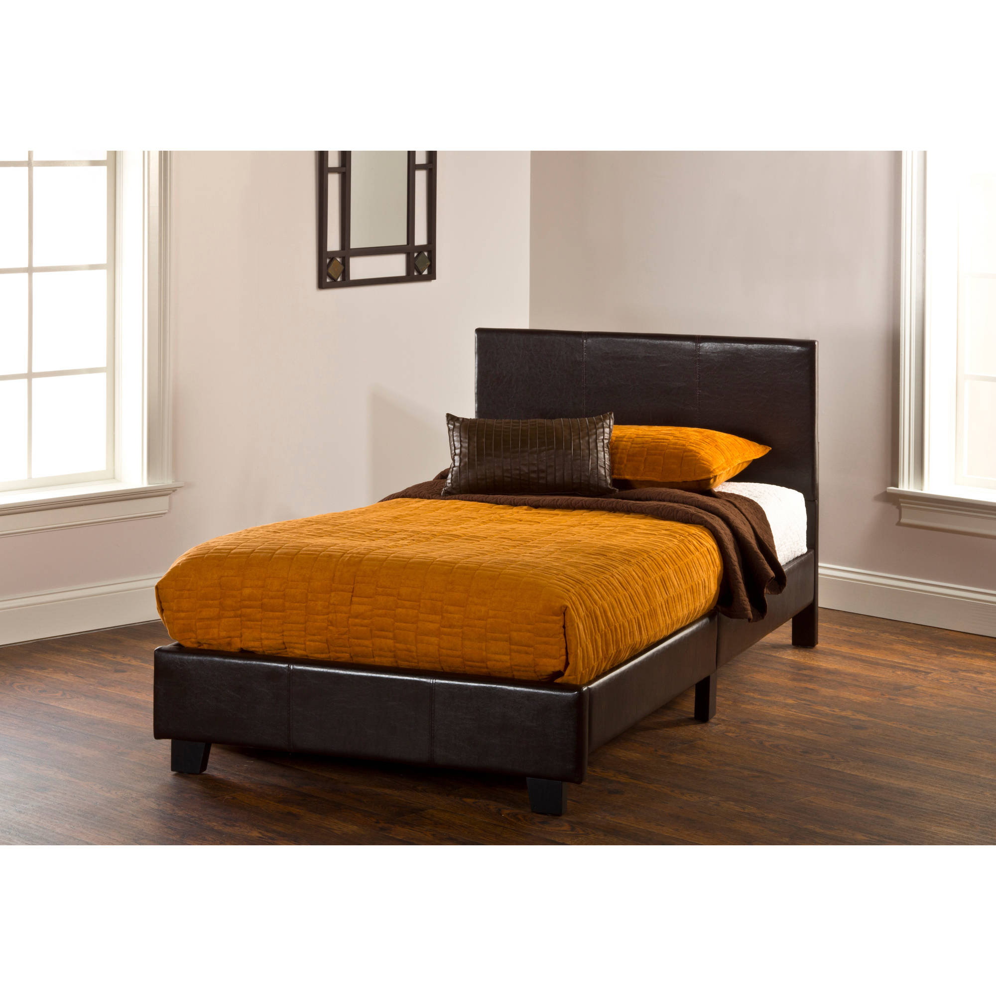 Hillsdale Springfield Bed in a Box Twin Bed in Brown Faux Leather by Hillsdale Furniture
