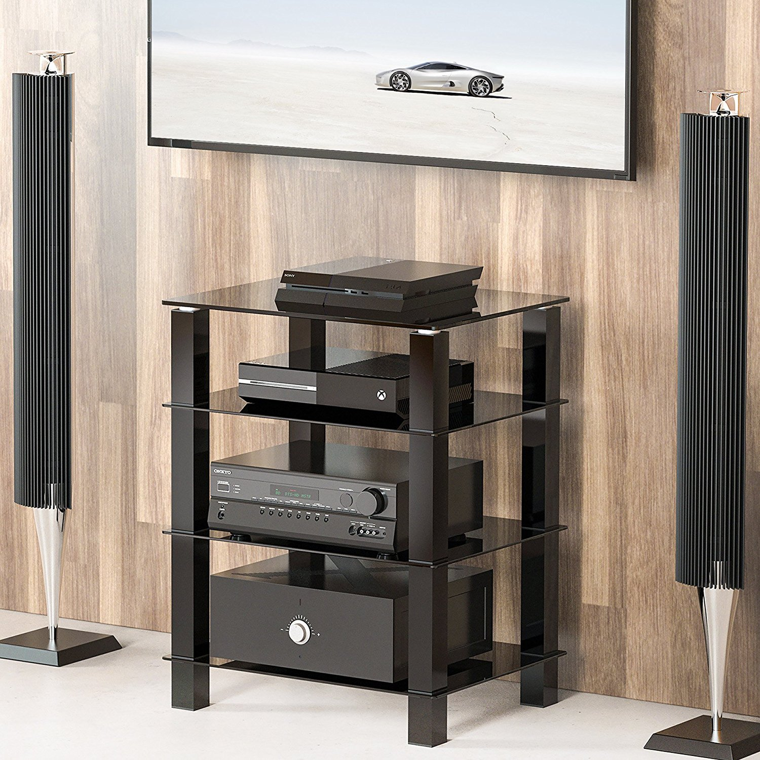 Etonnant FITUEYES Media Component AV TV Stand Audio Cabinet With Glass Shelf For  Samsung Vizio TV AS406002GB
