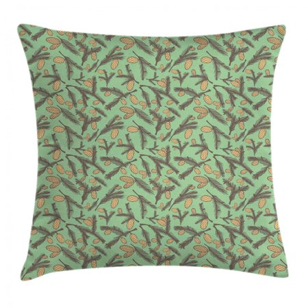 Pine Cone Throw Pillow Cushion Cover, Woodland Fir Branches Twigs Foliage Tree Spring Season Plant Leaves, Decorative Square Accent Pillow Case, 18 X 18 Inches, Umber Camel Reseda Green, by Ambesonne