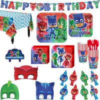 PJ Masks Birthday Party Kit, Includes Happy Birthday Banner, Candles and Eye Masks, Serves 16 , by Party City