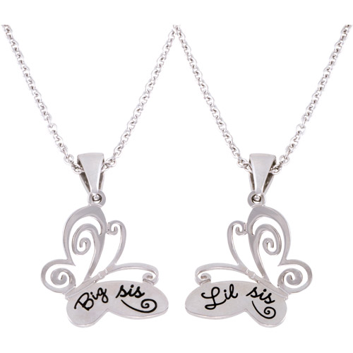 """Connections from Hallmark Stainless Steel """"Big Sis"""" and """"Lil Sis"""" Butterfly Pendants, 18"""" with 2"""" Extender"""