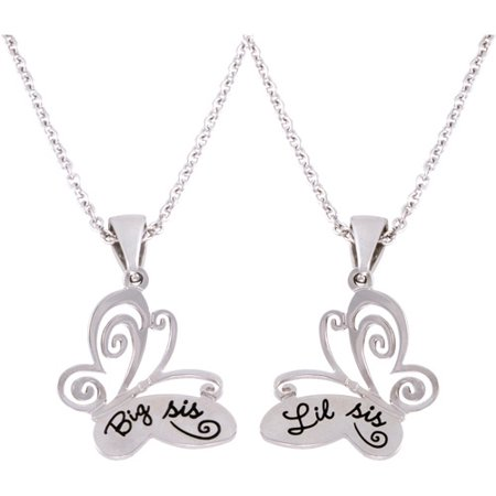Connections From Hallmark Stainless Steel  Big Sis  And  Lil Sis  Butterfly Pendants  18  With 2  Extender