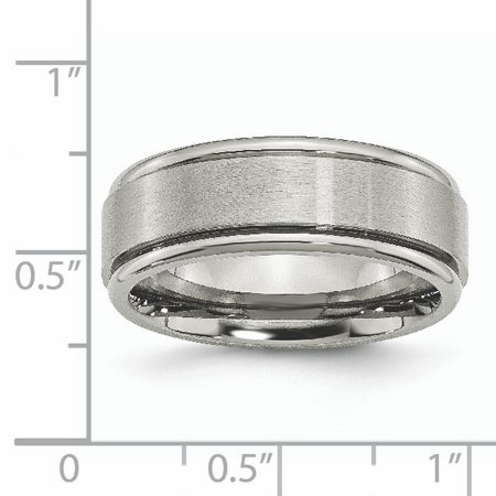 Titanium Ridged Edge 8mm Brushed Wedding Ring Band Size 11.00 Classic Flat W/edge Fashion Jewelry Gifts For Women For Her - image 2 de 10
