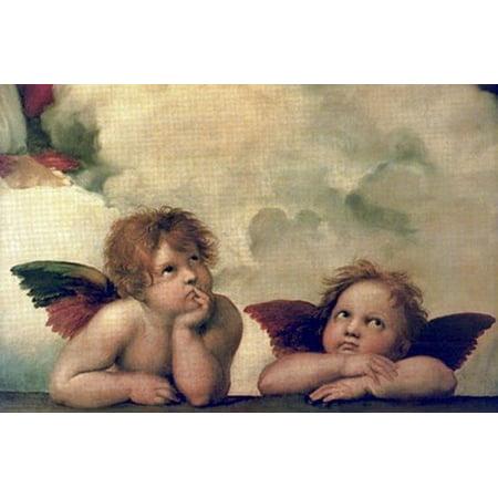 The Cherubim Putti Angels Of The Sistine Madonna C1514 Poster Print By Raphael  35 X 24