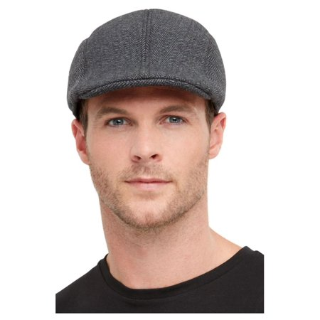 Gangster Halloween Costume Accessories (Gray 1920's Style Gangster Men Adult Halloween Flat Cap Costume Accessory - One)