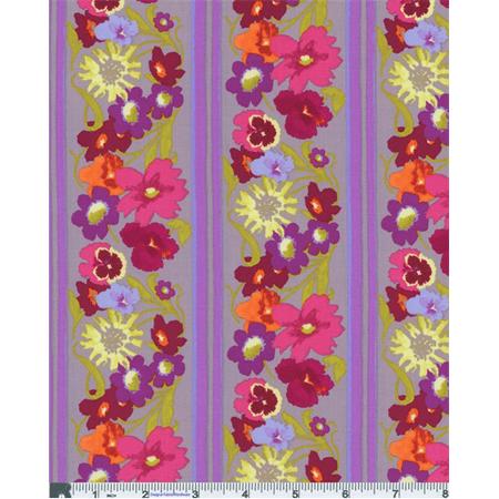 Dusty Purple Nel Whatmore Garden Window Box Print Cotton, Fabric By the Yard