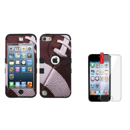 Insten Football/Black TUFF Hybrid Phone Hard Case For Apple iPod touch 6 6th 5 5th +Protector ()