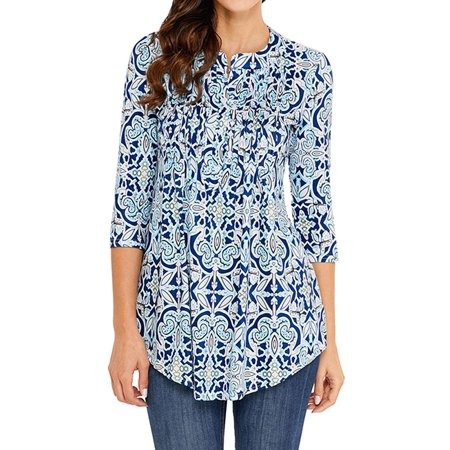 Dresswel Women V Neck 3/4 Sleeve Floral Print Blouse Shirt Tunic -