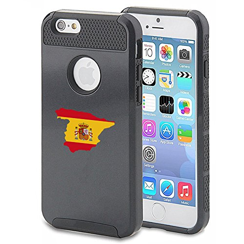 For Apple iPhone 7 Shockproof Impact Hard Soft Case Cover Spain Spanish (Black)