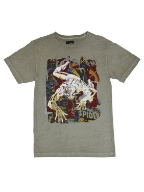 8935295ad Product Image Spider-Man Mens T-Shirt -Spiderman Crawling Across Comic  Panels on Gray