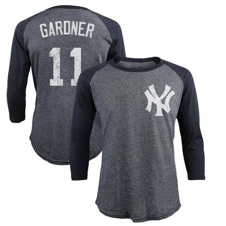 size 40 89df3 ec9ca Brett Gardner New York Yankees Majestic Threads Tri-Blend 3/4-Sleeve Raglan  Name & Number T-Shirt - Navy
