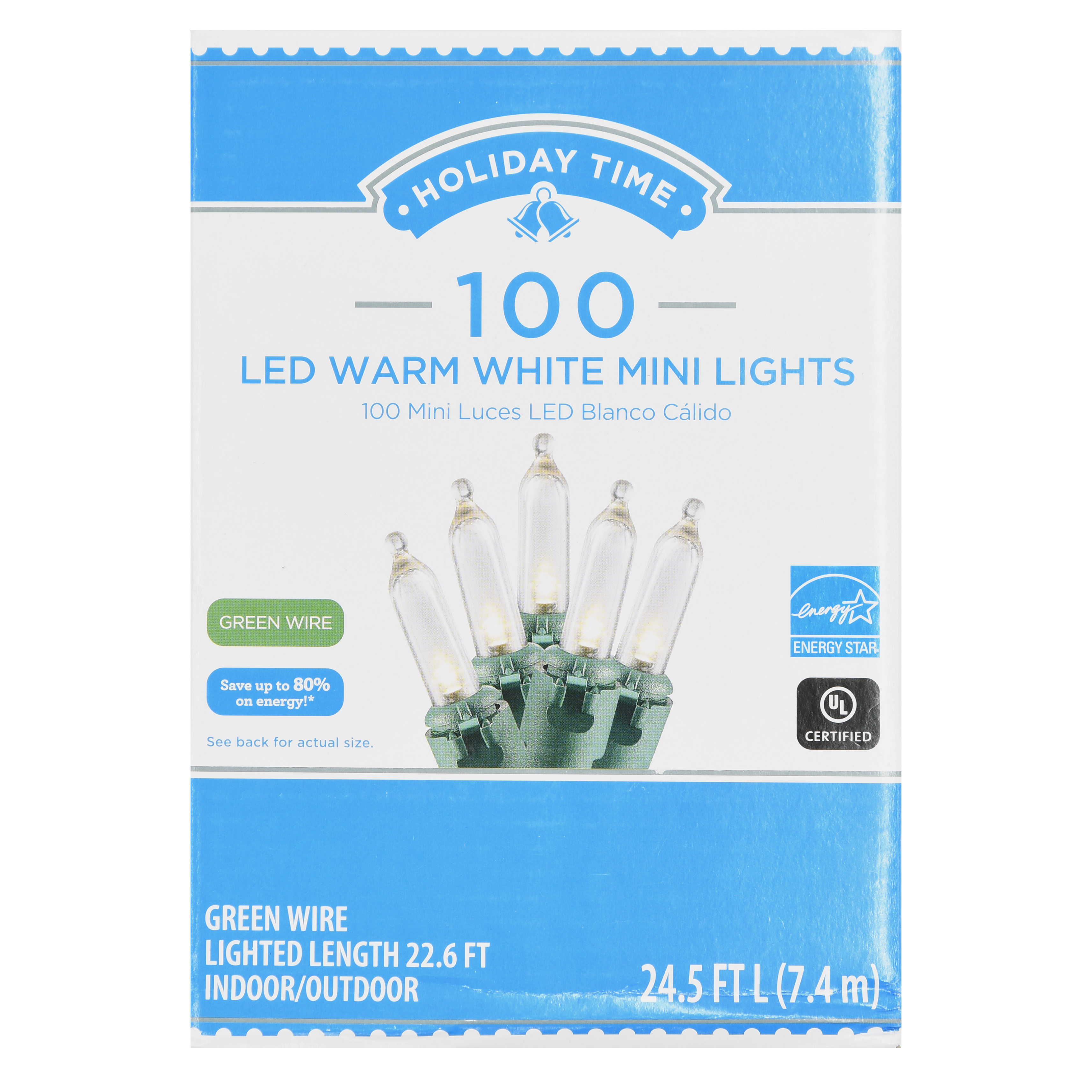 Holiday Time LED Warm White Mini Lights, 100 Count ...