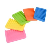 5 PCS Silicone Draining Soap Dish/Bar Soap Holder for Tub/waterfall Soap Tray/Soap Saver/Soap Dishes for Bathroom Shower
