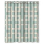 HelloDecor Traditional Lattice Aqua Latticework Shower Curtain Polyester Fabric Bathroom Decorative Curtain Size 60x72 Inches