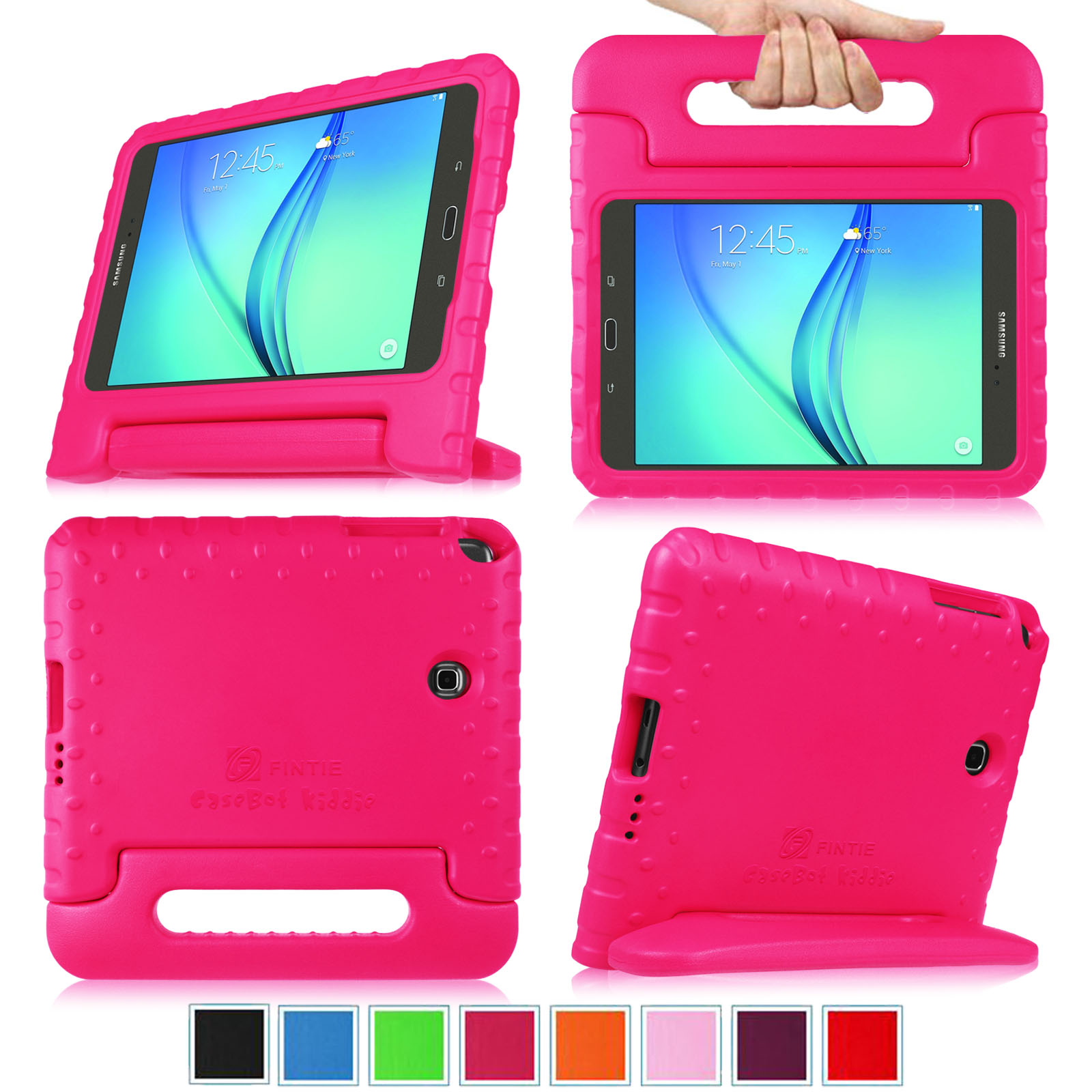 For Samsung Galaxy Tab A 8.0 SM-T350 2015 Model Kiddie Case - Lightweight Shock Proof Handle Stand Cover,  Magenta