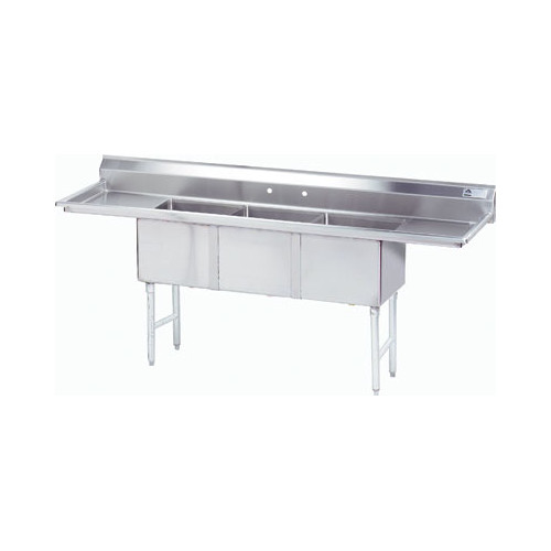 "Image of Advance Tabco 102"" x 30"" Triple Fabricated Bowl Scullery Sink"