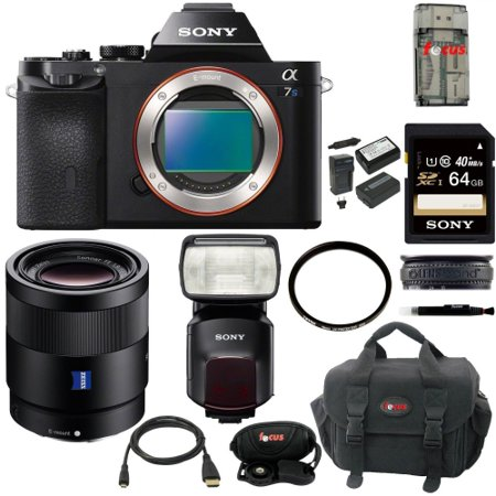 Sony a7S Full Frame Digital Camera w/ SEL55F18Z Lens, HVLF60M Flash Kit