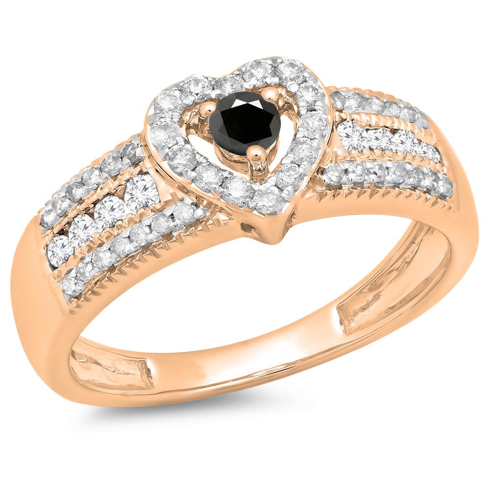 Dazzling Rock 0.55 Carat (ctw) 14K Rose Gold Round Cut Bl...