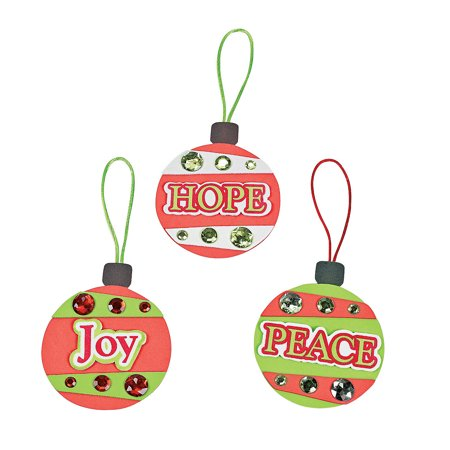 Fun Express - Peace, Hope And Joy Foam Ornament ck for Christmas - Craft Kits - Ornament Craft Kits - Foam - Christmas - 12 Pieces