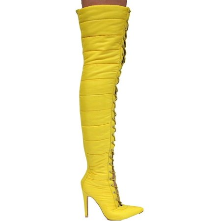 Puffer Knee Thigh Boots 23 Toe Gigi Heel Up Over High Lace Yellow Pointed Nvn08wm