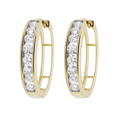 - 10K Yellow Gold Real Diamonds Channel Hoop Earrings 1.0ct